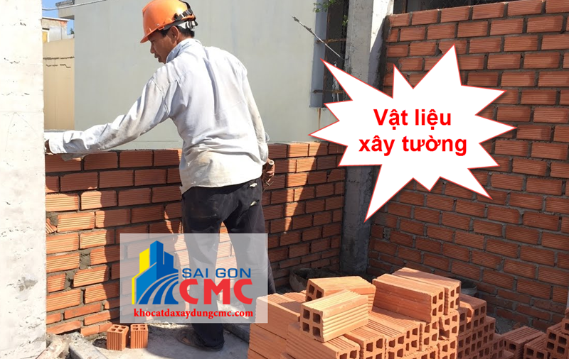 Vật liệu xây tường gồm gạch, cát, xi măng, ...