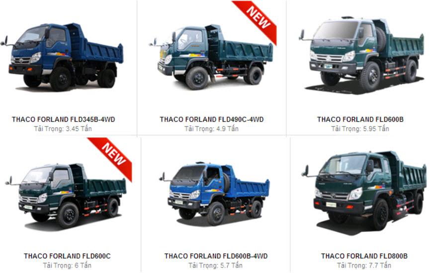 Các loại xe tải chuyên dụng chở cát